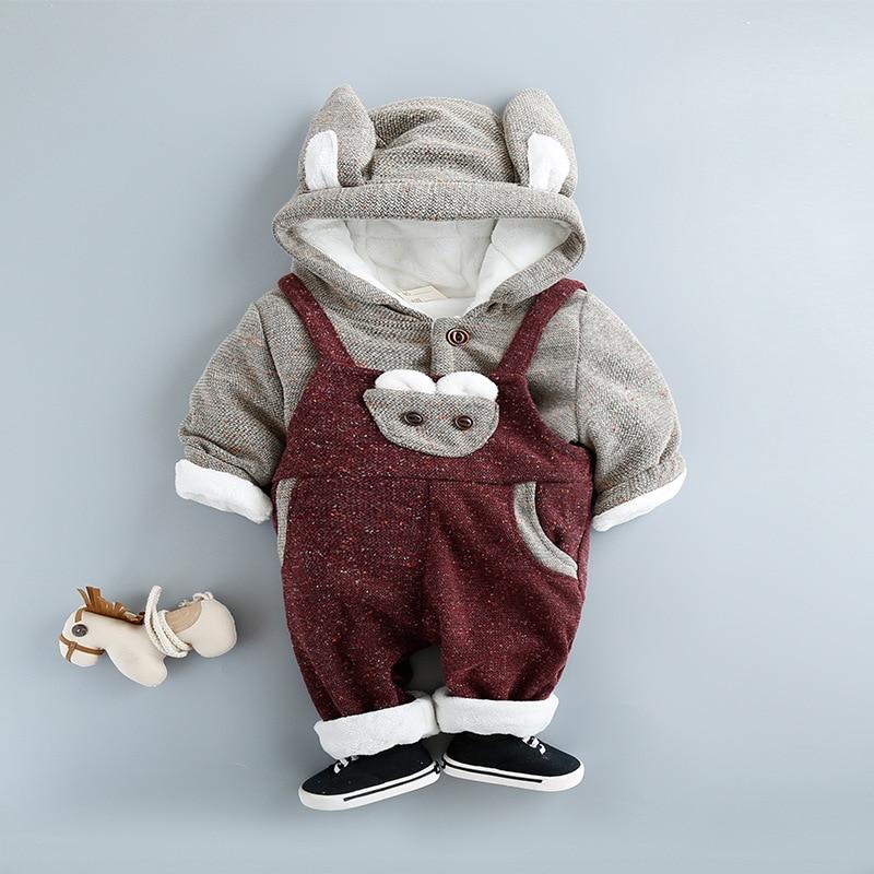 ФОТО baby winter suit children 's new baby clothing children' s suit plus velvet boys two - piece