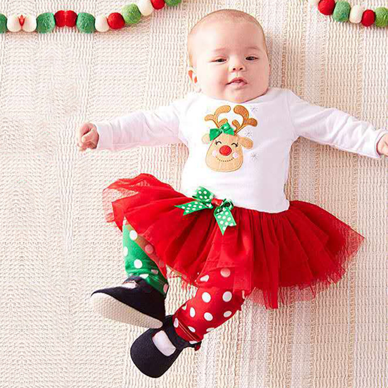 2017 Girls Christmas Clothes Set For Girl Kids Elk Tutu Dress + Dot Pant Children New Fashion Clothing Set Baby Girls Suits girls dress winter 2016 new children clothing girls long sleeved dress 2 piece knitted dress kids tutu dress for girls costumes