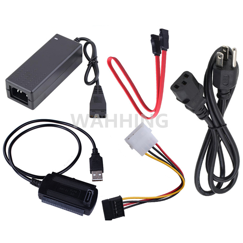 1Set USB 2.0 to IDE SATA S-ATA 2.5 3.5 HD HDD Hard Drive Adapter Converter Cable with 2A Power Supply Adapter HY246 generic usb 2 0 to ide sata s ata 2 5 3 5 hd hdd hard drive adapter converter cable