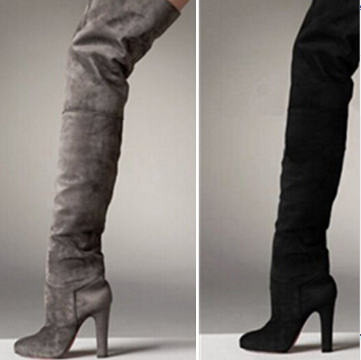 Hot Sale Thigh High Boots Women Black Grey Suede High Heels Cowboy Boots  Botas Femininas Over The Knee Boots 5c17f395717a
