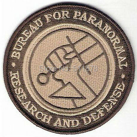 Hellboy Paranormal Research White Iron On Patch