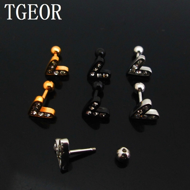7979dbd88 1 pair 16G surgical Stainless Steel V shape gem crystals titanium plated  colors ear tragus piercing earring