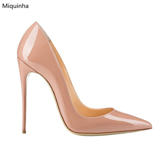 8fee25f3e5a Hot Selling Nude Patent Leather Sky High Heels Pumps Pointy Toe Classic  Fashion Ladies Stiletto Heels 120mm Shoes Woman