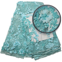 Luxury Fabric African Bridal Lace Fabric High Quality Handmade Beaded Embroidery 3d Lace Fabric For Nigerian Wedding XZ1058B 1