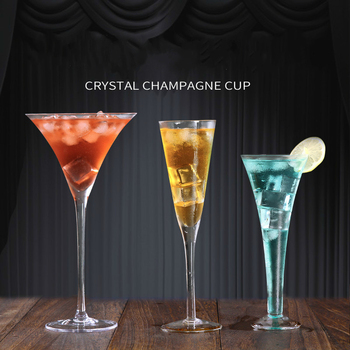 Crystal Glass Champagne Glasses Verre Mariage Wedding Creative Horn High Foot Martini Bubble V Shape Sweet Wine Cocktail Cups