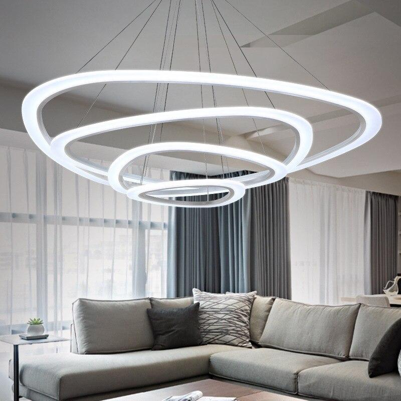 Синий время новый современный подвесные светильники для гостиной столовой 4/3/2/1 круг Кольца акрил Светодиодное освещение потолочный светил...