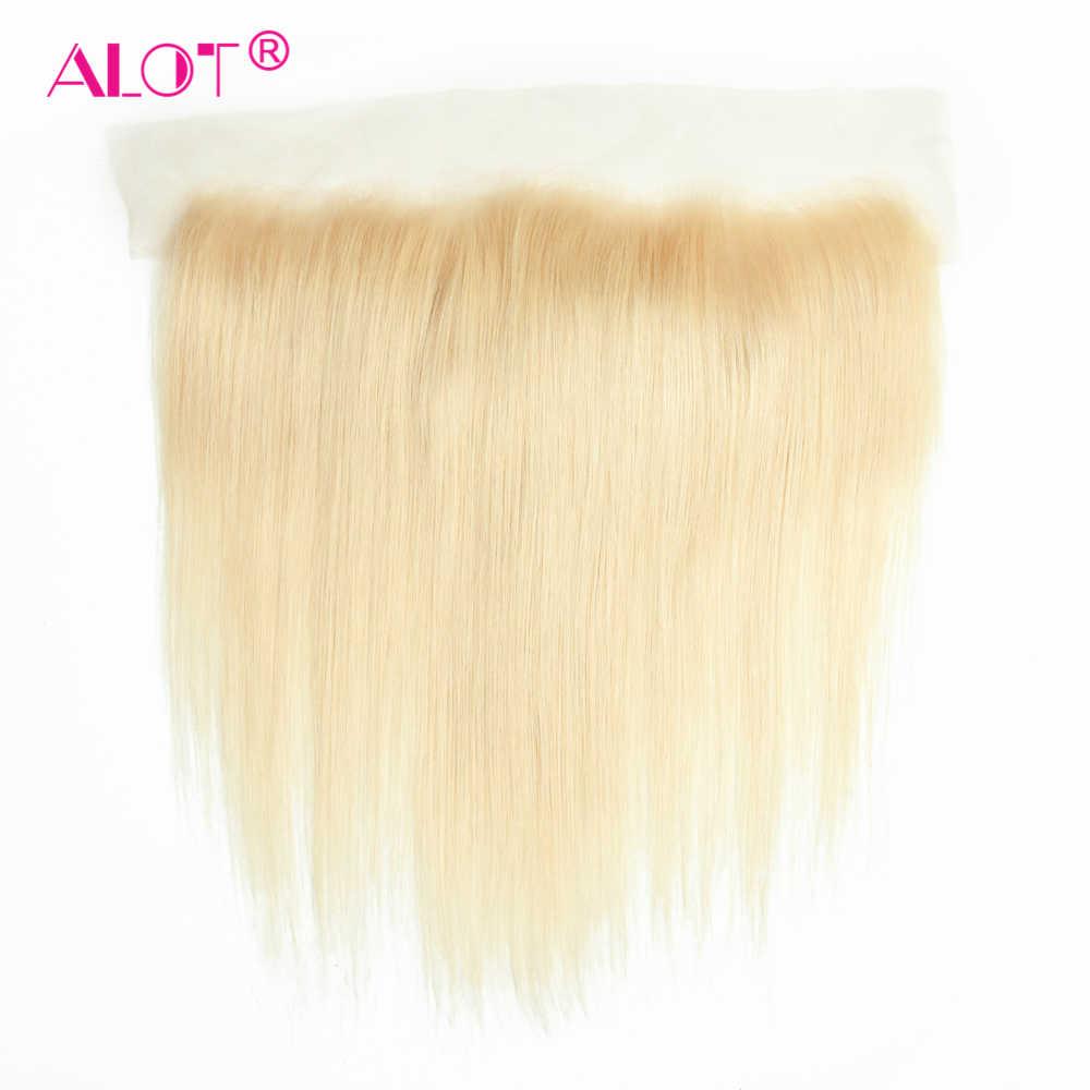 Алот 613 светлые пучки с фронтальной предварительно сорванной перуанские прямые волосы медовые Платиновые светлые пучки с закрытием remy волосы