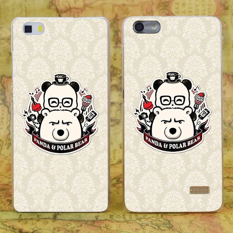 E0676 Панда и полярный медведь прозрачный жесткий тонкой кожи, чехол для Huawei P 6 7 8 9 lite плюс honor 6 7 4c 4x G7