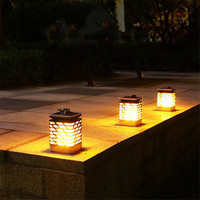 Energy Saving LED Solar Power Panel Candle Flame Lights Motion Sensor Outdoor Garden Lawn Torch Wall Lamp Holiday Garland Decor