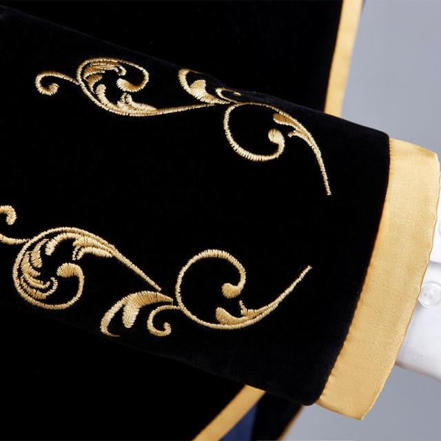 British Style Palace Prince Fashion Black Velvet Gold  5