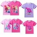 Trolls de Roupas Roupas de Verão Mangas Curtas T-shirt Para Meninas T-shirt Das Crianças das Crianças Para Meninas Adolescentes Roupas Monya