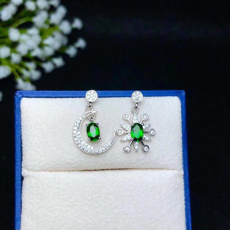 Xin yi peng 925 silver plated gold inlaid natural diopside female eardrop for women fine stud earrings S925Xin yi peng 925 silver plated gold inlaid natural diopside female eardrop for women fine stud earrings S925