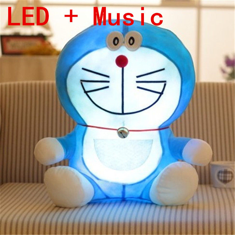 25cm Stand By Me Doraemon Plush toy Kawayi colourful LED musice Cat Anime Plush doll Kids