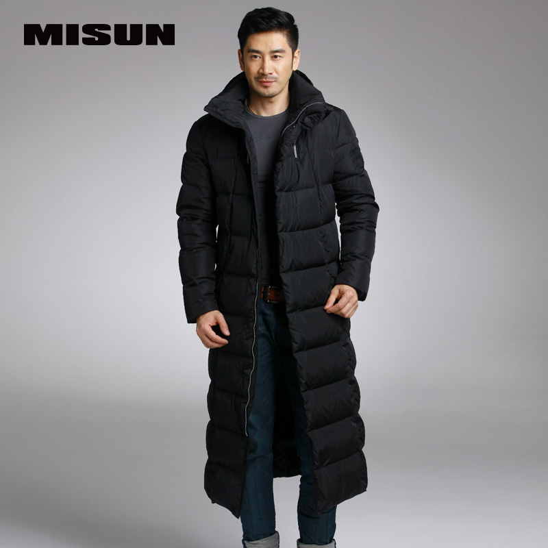 Misun 2016 formal embroidery with a hood lengthen thickening over-the-knee design long   down     coat   male