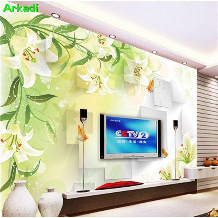2019 Neuestes Design Einfache Moderne Tv Hintergrund Lily Blumen Tapete Fertigen Jede Größe 3d Floral Schlafzimmer Wandbild Kann Wiederholt Umgeformt Werden.