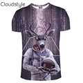 2017 new arrival summer style fashion astronaut Deer print Harajuku Men 3D Print Galaxy t shirt Animal Men's t-shirts Clothes