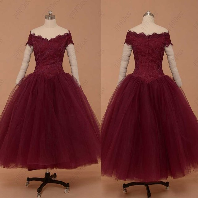Vintage tea length short ball gown wine red burgundy for Red tea length wedding dress