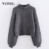 Winter Woman Sweater Female Pullover Long Sleeve Sweaters Women Knitting Pearl Decoration Solid Gray Fashion New Year Hot Top
