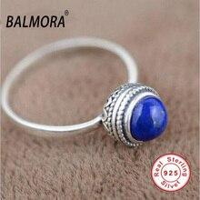 100% réel pur 925 bijoux en argent sterling élégant naturel lapis lazuli rétro anneaux pour les femmes amant cadeaux TRS20950