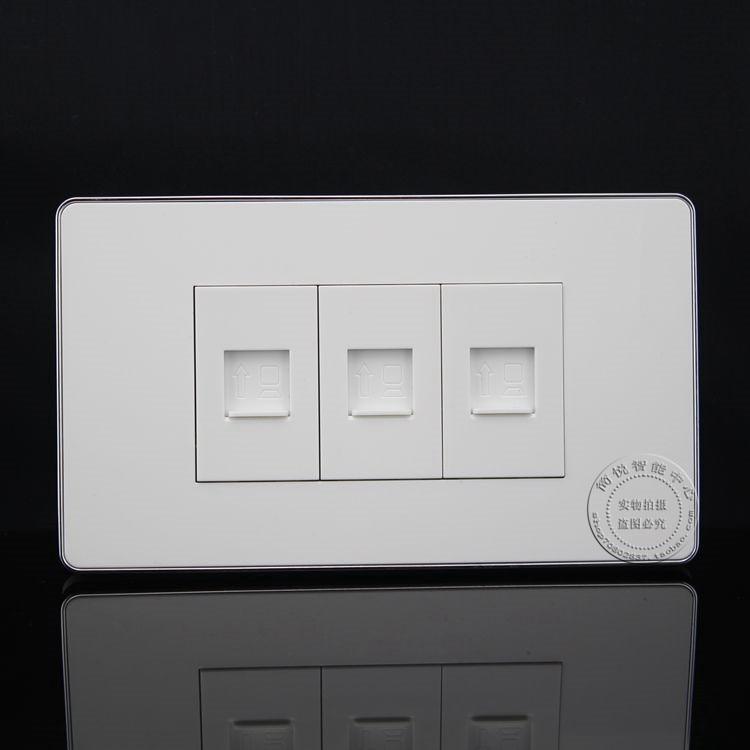 120MM Wall Socket 3 Ports Socket Network Ethernet LAN RJ45 Outlet Panel Faceplate Home Plug Adapter wall socket 4 ports single port network lan cat6 rj45