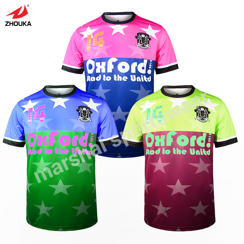 free shipping colorful newest sublimation football t-shirt print dry-fit any color full sublimation print