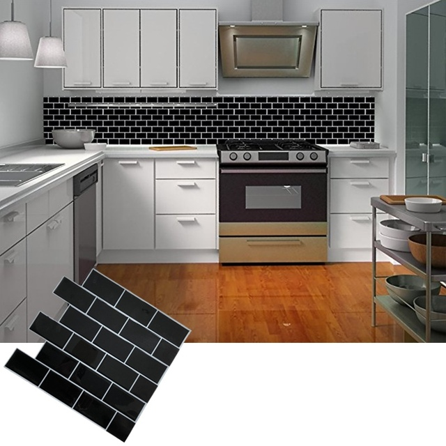 Self Adhesive L And Stick Black Subway Tile Backsplash Mosaic Wall Decal Sticker Diy Kitchen