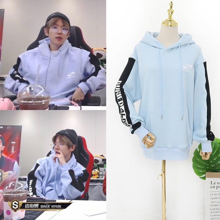 Kpop EXO BAEK HYUN Hoodie Baek Hyun The Same Korean Streetwear Long-sleeved Casual Hooded Sweatshirt Fans Kawaii Clothes Moletom