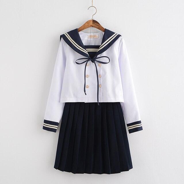Japanese Harajuku White High School Harajuku Double Breasted Sailor