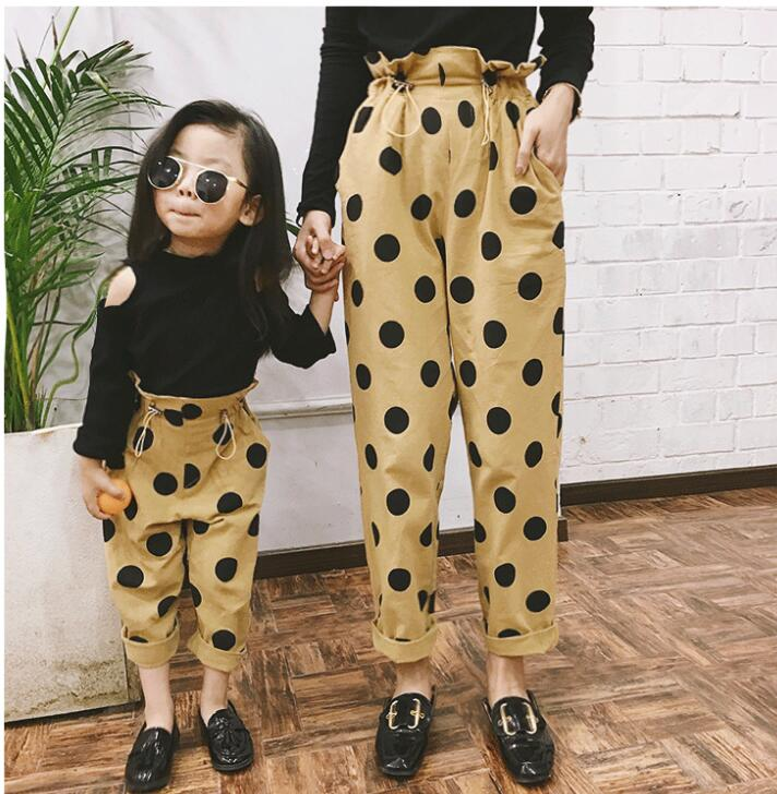 Mother Daughter Dresses Family Look Polka Dot Straight Pants Mommy And Me Clothes Mom Baby Matching Outfits Trousers Clothing