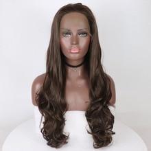 Marquesha коричневый Синтетические волосы на кружеве парики для Для женщин светло-коричневый парики естественная волна синтетических бесклеевой длинные Синтетические волосы на кружеве парик 26 дюйм(ов