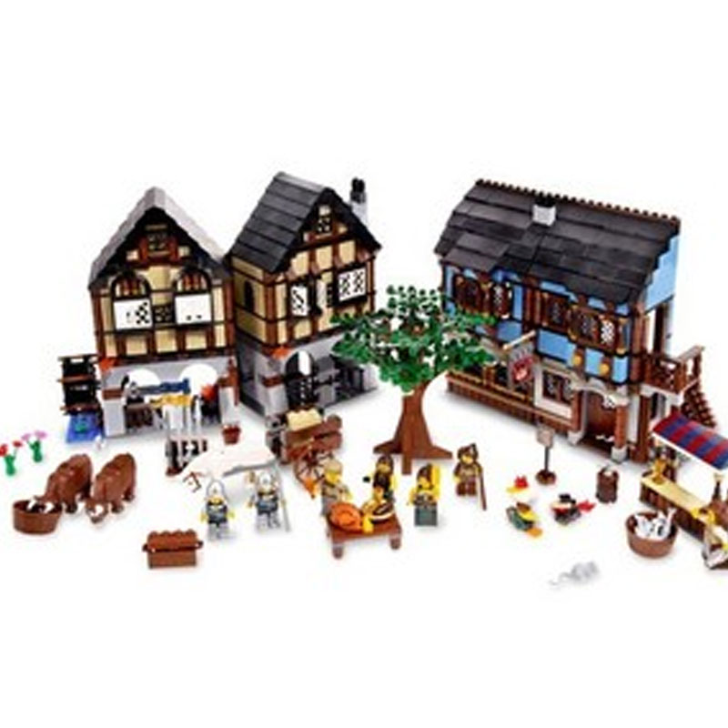 New LEPIN 16011 1601Pcs Medieval Market Village Model Building Kits Blocks Bricks Toys For Children Gift Compatible With 10193 lepin 22001 pirate ship imperial warships model building block briks toys gift 1717pcs compatible legoed 10210