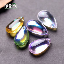 10pcs 14x8mm Cabochon TearDrop Lampwork Mermaid Beads Bead Pendant WaterDrop Glass Beads Handmade DIY Jewelry Making 16021(China)