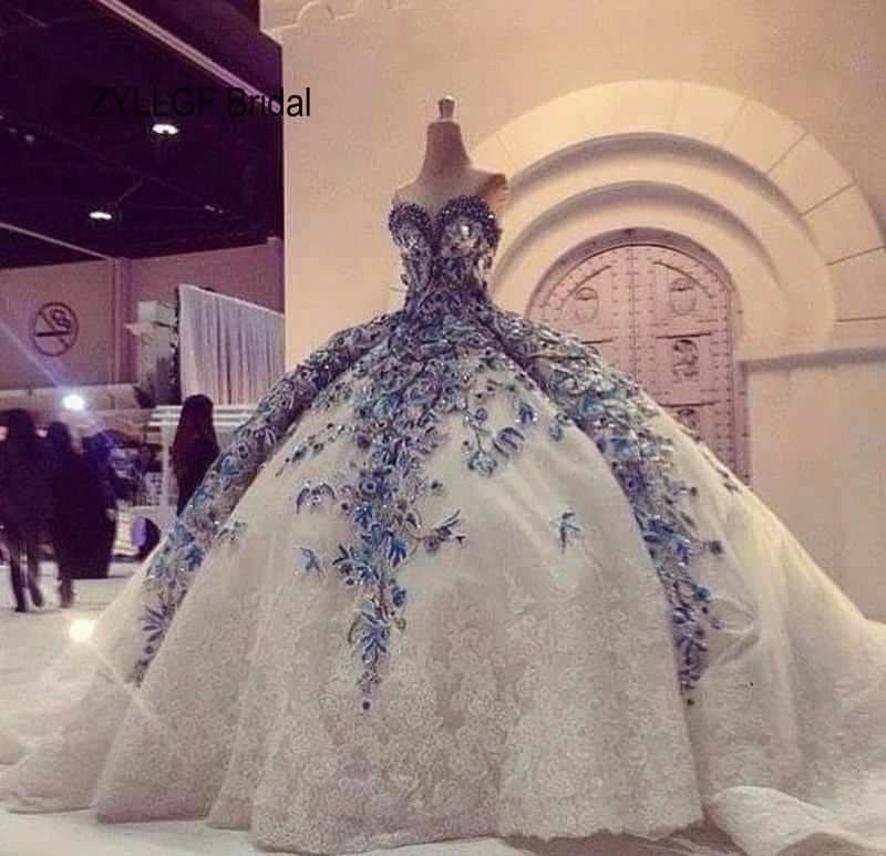 ZYLLGF Bridal Fluffy Sweetheart Expensive Wedding Gowns Long Appliques Arab Dresses Luxury With Beadings FG126 In From Weddings