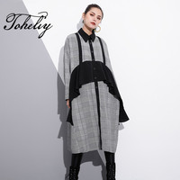 Toheliy 2018 Women Fashion Trend Spring Winter Personal Lapel Long Sleeved Plaid Shirt Dress Stitching Ruffles