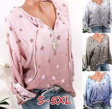 2019 new womens blouse stars printed long-sleeved casual large size shirt S-5XL