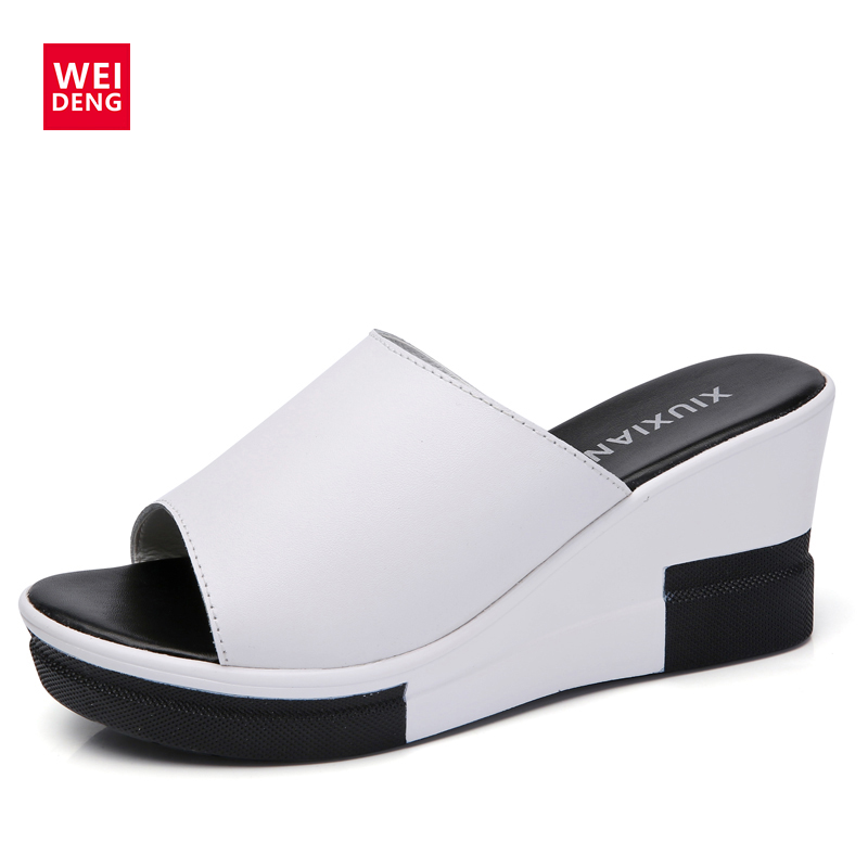 WeiDeng Genuine Leather Wedge Platform High Heel Slipper Flat Slides Casual Summer Woman Mixed Colors Slip On Ladies Shoes 2018 high quantity medicine detection type blood and marrow test slides