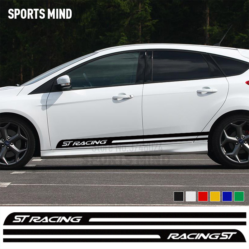 1 Pair Sports Mind ST RACING Car Styling Racing Stripe Body Stickers For Ford Focus Fiesta Mondeo Kuga MK2 MK3 Car accessories