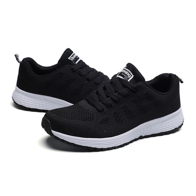 Sneakers Women Sport Shoes Lace-Up Beginner Rubber Fashion Mesh Round Cross Straps Flat Sneakers Running Shoes Casual Shoes 1