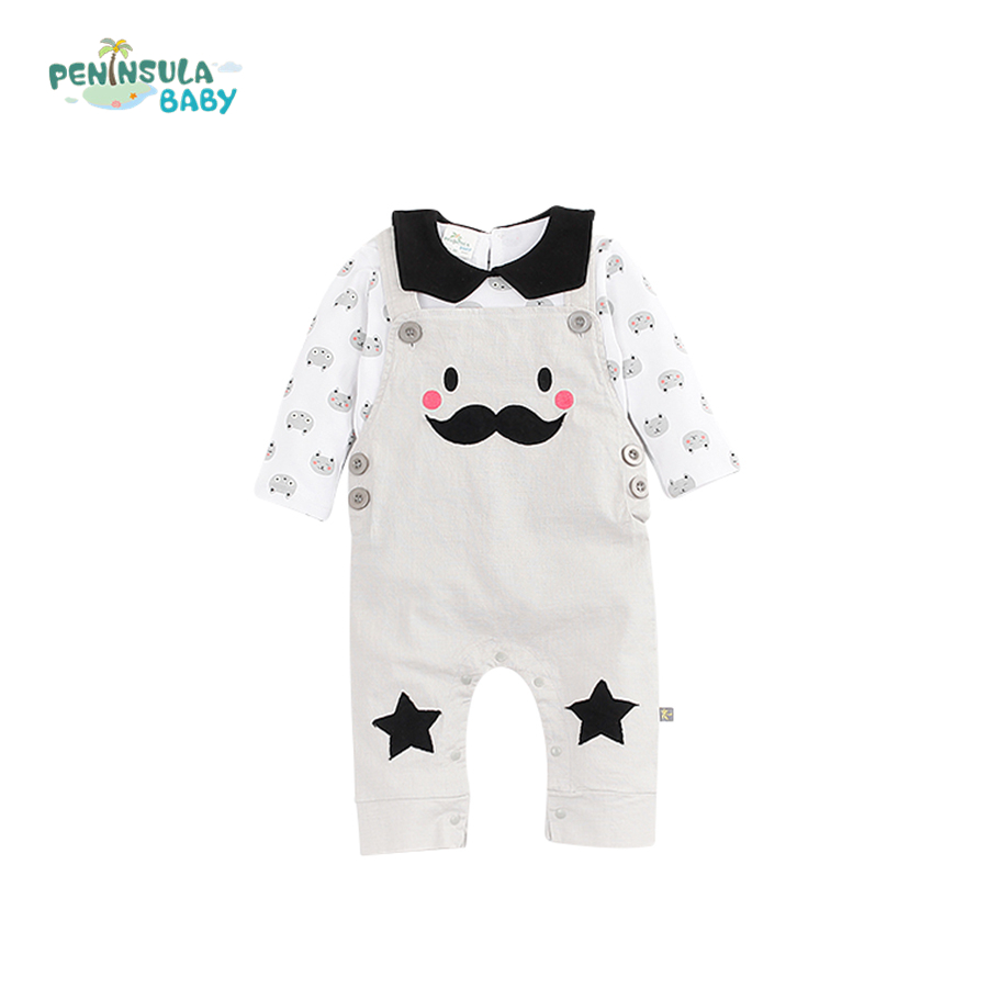 Fashion Infant Baby Rompers Cotton Newborn Baby Boys Girls Clothes Long Sleeve Beard/Bear Star Print Jumpsuit Costume 2ps Suit sr118 baby rompers 2016 spring newborn cotton pajamas clothes bebe long sleeve hooded romper infant overall boys girls jumpsuit