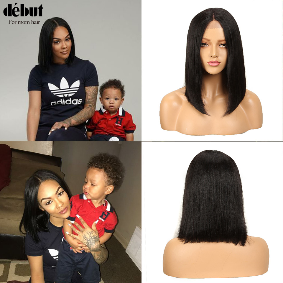 Debut Human Hair Wigs Remy Brazilian Lace Front Human Hair Wigs U Part Pink Short Human Hair Wigs Mom Hairstyle Design Lace Wig