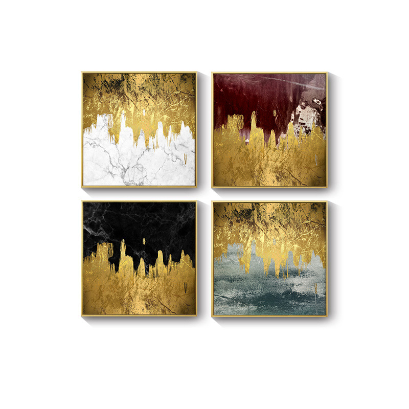 New Modern Gold Foil Golden Abstract Landscape Canvas Art Print Living Room Restaurant Home Mural Hotel Decorative Painting Arts in Painting Calligraphy from Home Garden