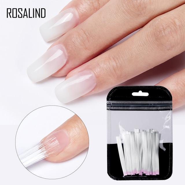 ROSALIND Fiber Glass Nails Extenstion 10/20pcs/lot Silk Set Nail Extension Acrylic Tips Fiber Gel Polish Nail Pinching Clips