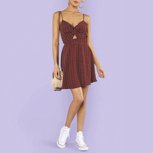 Broadcloth Spaghetti Strap Dot Print Ruffle Hem Knotted Red High Waist Strap Sleeveless Summer Women Dress