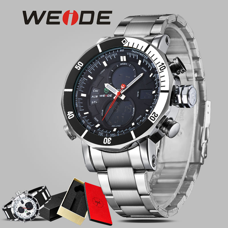WEIDE men watch contracted in quartz watch stainless steel date digital led balck round big dial luminous display sport watches weide luxury men watch contracted quartz watch stainless steel date digital led red round big dial sport water resistant watches