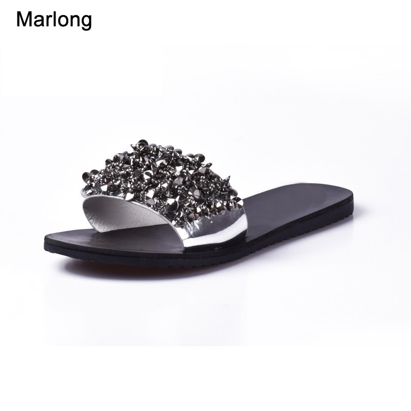 Women Sandals Flips Flops Summer Style Shoes Woman Wedges Sandals Fashion Rivet Crystal Platform Female Slides Ladies Shoes women sandals 2017 summer shoes woman wedges fashion gladiator platform female slides ladies casual shoes flat comfortable
