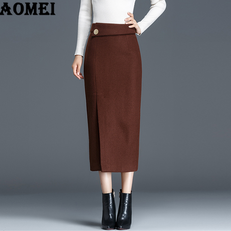 135fae82b71 Autumn Winter Woolen Straight Skirt Ladies Office Wear to Work Modest  Classy Elegant Jupes Black Solid Skirts Clothing Plus Size