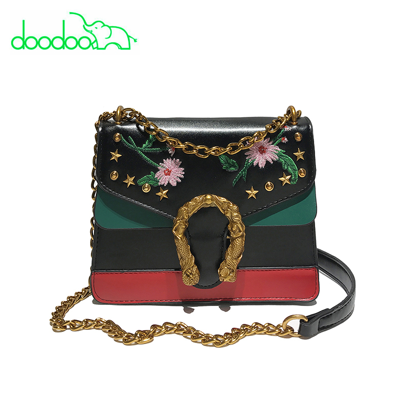 Detail Feedback Questions about 2018 New Fashion Chain Rivet Shoulder  Crossbody Bag Women Leather Handbags High Quality Embroidery Flower Panelled  Messenger ... 392b4b8000b66