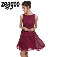 Zeagoo Women Sleeveless Chiffon Dress Summer Draped Flare Fit Party Dress Vestidos Fashion Elegant Party Casual