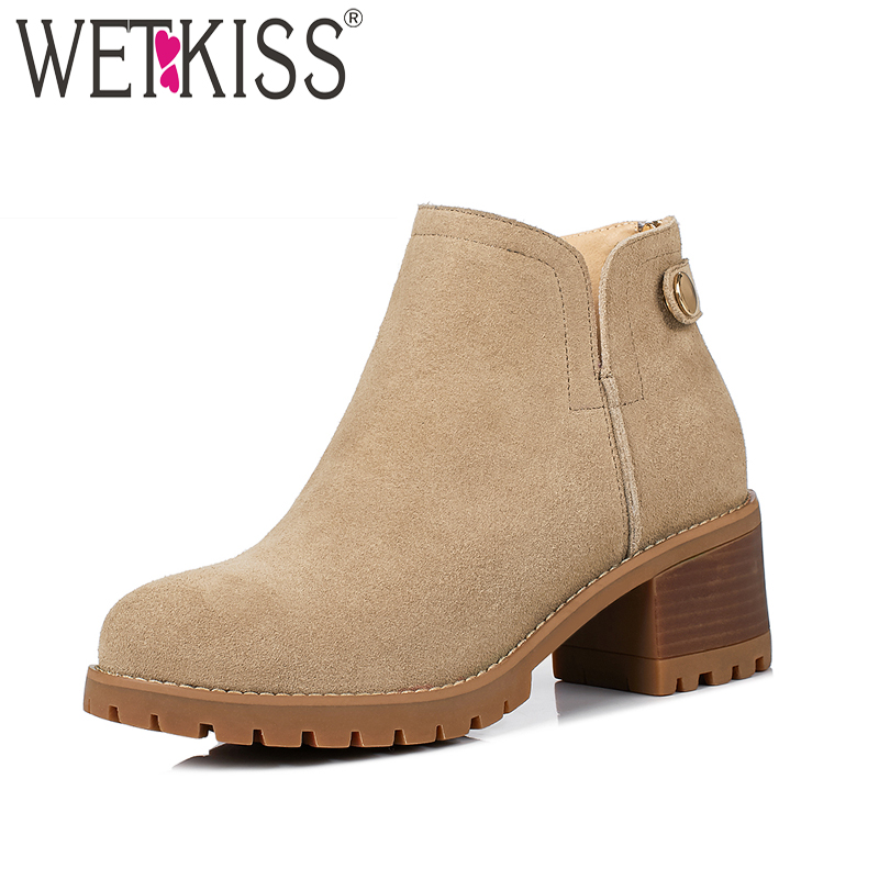 WETKISS Wood High Heels Spring Ankle Women Boots Women Button Platform Shoes Zipper Square Heel Round Toe Cow Suede Footwear women platform square high heel ankle boots fashion side zipper round toe shoes woman black white beige