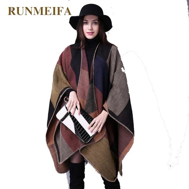 2cce17cb3d46  RUNMEIFA  Top Qualité Mode Géométrie Dames Pashmina Écharpe Épaisse Vert Femmes  Cachemire Châle Wrap